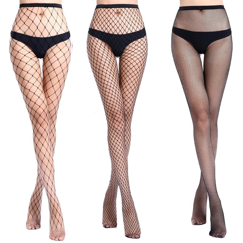 Meia-calça arrastão, meia-calça preta transparente para festa, clube, meia-feira malha de malha