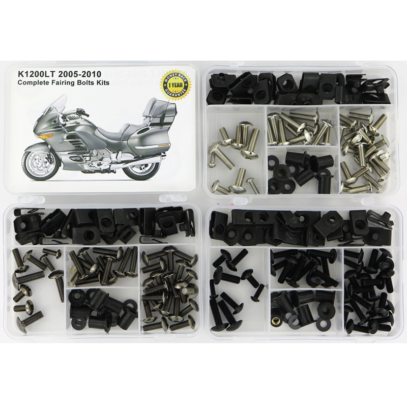For BMW K1200LT 2005 2006 2007 2008 2009 2010 Complete Cowling Full Fairing Bolts Kit Screws Steel Nuts Fairing Clips