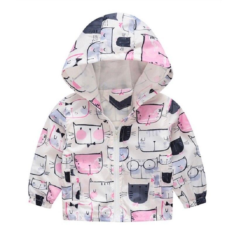 2019 Spring Autumn Kids Jackets Girls Windbreaker Print Hoodie Boys Coats Baby Outerwear Casaco Menina Flower Cat Enfant Blazer