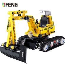 цена на Building Blocks City Engineering Technic Excavator Car Compatible Enlighten Truck Bricks Toys For Children Gifts
