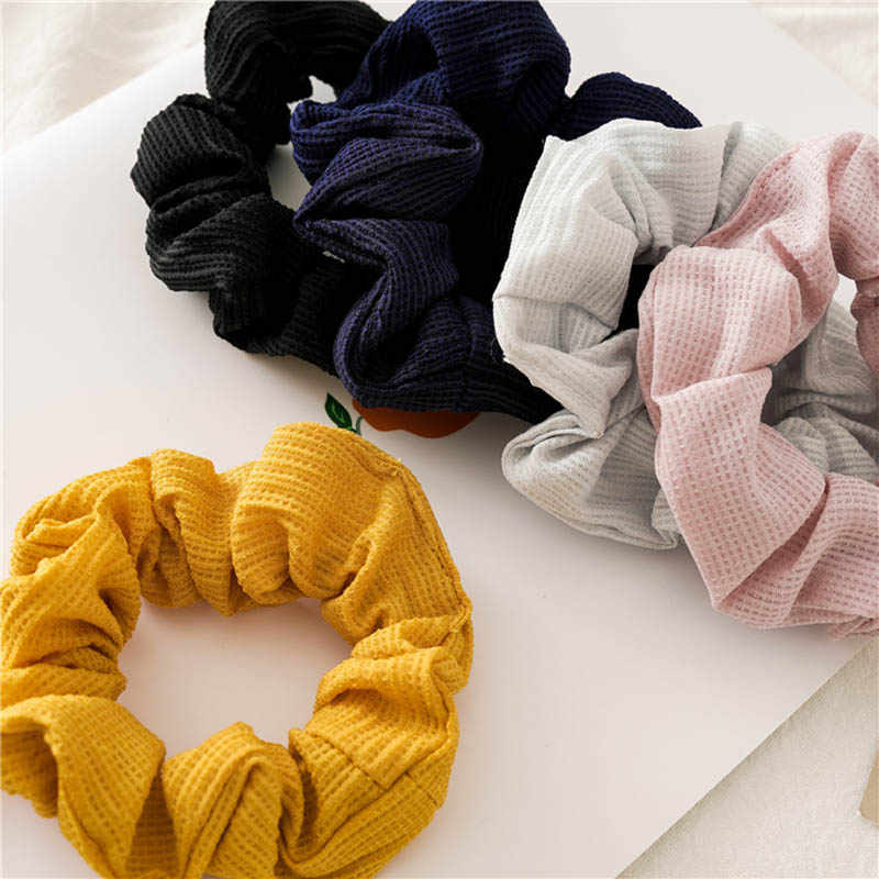 אופנה מוצק צבע אלסטיות שיער להקות קיסם קמטים אלסטי שיער גומיית קוקו שיער טבעת לבן צהוב ורוד בארה 'ב
