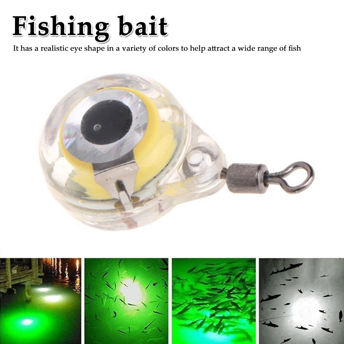 5 Colors Mini Fishing Light Small Illuminating 6 Cm/2.4 Inch LED Deep Drop Underwater Eye Shape Fishing Squid Fishing Bait