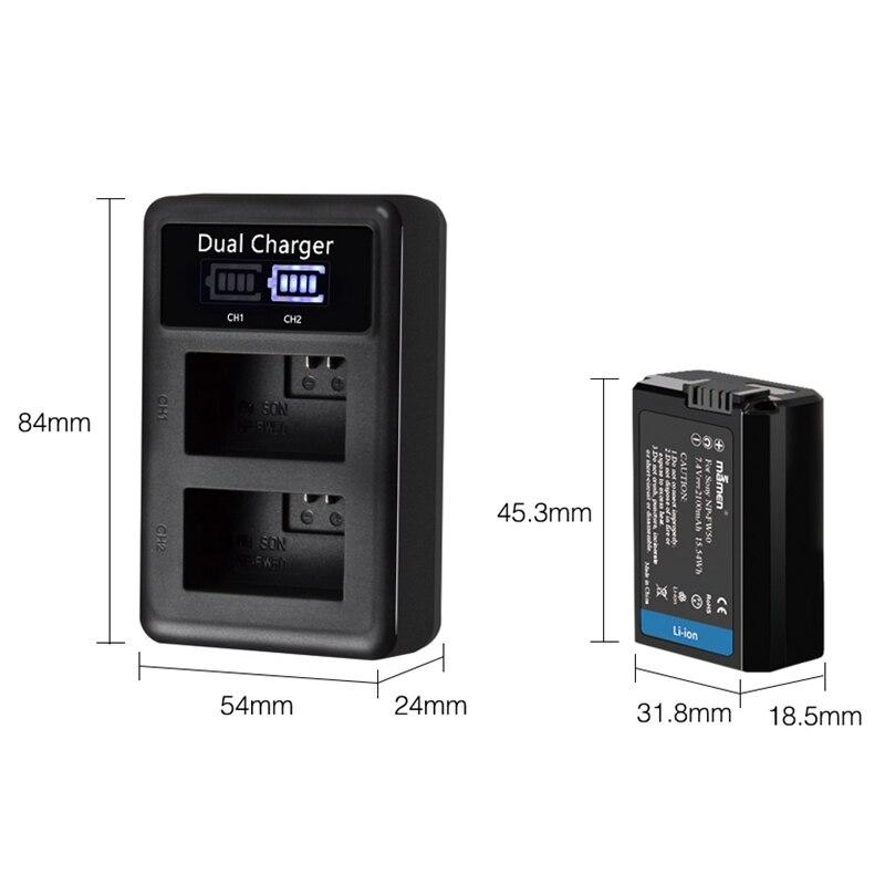 Image 2 - Mamen 3Pcs NP FW50 NP FW50 NPFW50 Digital Camera Battery 2100MAh + LCD Dual Charger for Sony NEX 3 A7R A6500 A6300 A6000 A5000 ADigital Batteries   - AliExpress