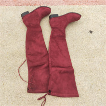red women shoes autumn spring Elastic Overknee Flat Bottom Thin Long boots Woman