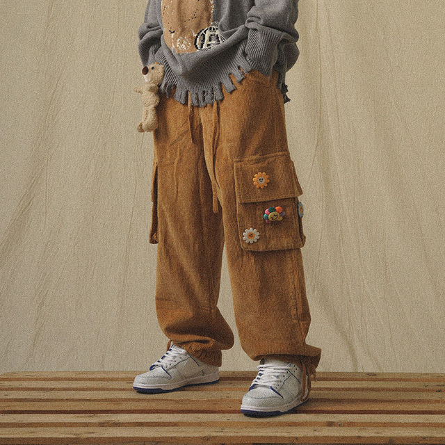 QWEEK Japanese Streetwear Corduroy Pants Women Vintage Brown Cargo Pants Pockets Oversized Korean Style Wide Leg Trousers Female 2