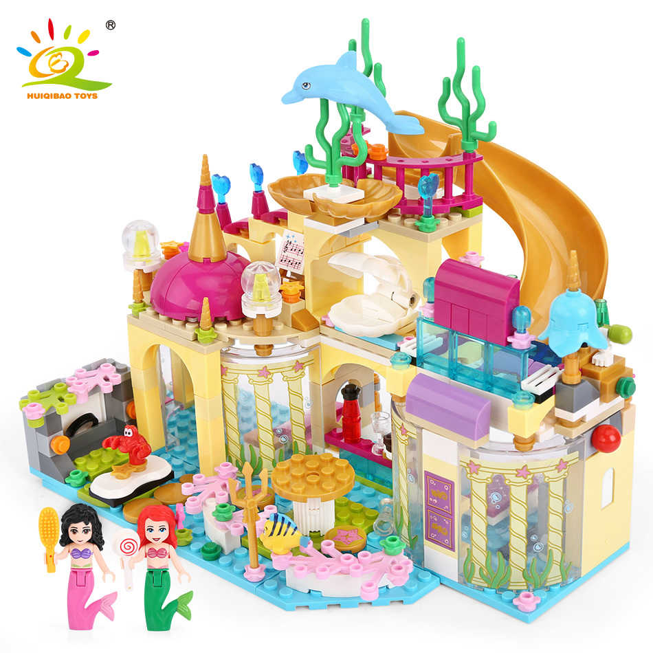 Elsa Ice Castle Princess Anna Ariel Building Blocks Bricks Kit Compatible Legoingly friend for girl Little Mermaid Figures Toys