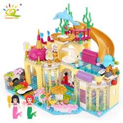 Elsa castelo de gelo princesa anna ariel blocos de construção tijolos kit compatível legoingly amigo para menina pequena sereia figuras brinquedos