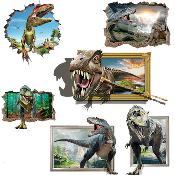 DIY 3D Vivid Jurassic Dinosaur Wall Sticker Room Decoration Cartoon Stickers Kids Room Wall Decor Vinyl Art Wall Decals 1