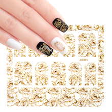1 pcs 3D Gold Nail Sticker Golden Flowers Rose Bronzing Sliders Wraps Adhesive DIY Nail Art Decoration Manicure Tips LAAD201-212