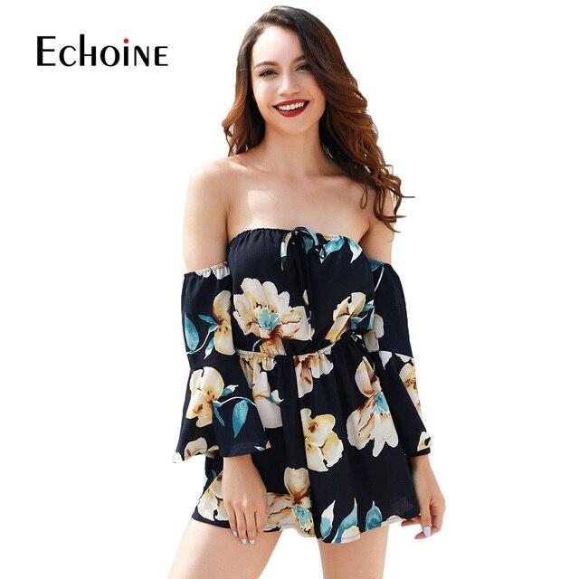 Sexy fashion Floral Print Women Jumpsuit 2019 Summer Beach Off Shoulder Body suit Casual Loose Playsuit plus size 4XL jumpsuits 3
