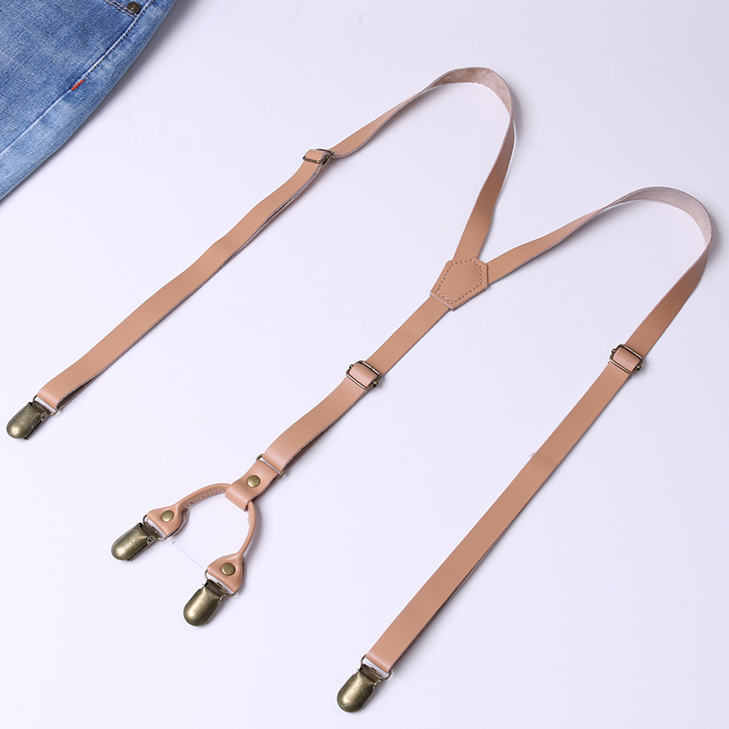 Retro Suspender Strap Clip Adult Si Jia Jeans Suspender Strap Camisole For Both Men And Women Narrow-Genuine Leather Suspenders