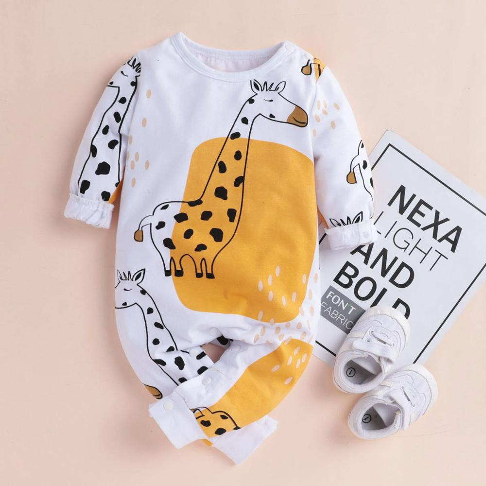 PatPat Baby Boy Girl Giraffe Print Long-sleeve Jumpsuit Bottom Snap Spring Autumn Winter Round Neck Long Sleeve Cotton