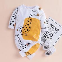 PatPat Baby Boy Girl Giraffe Print Long sleeve Jumpsuit Bottom Snap Spring Autumn Winter Round Neck Long Sleeve Cotton on AliExpress