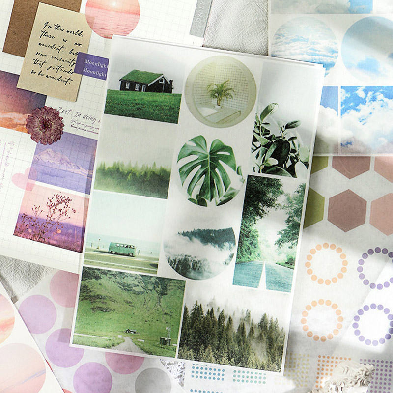 2 Sheets Travel Scenery Sticker Cute Dots Heart Stationery Sticker Kawaii Adhesive Stickers For DIY Diary Scrapbooking Supplies