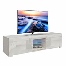 High Gloss Tv Stand Tv Unit Furniture Wall LED Cabinet TV Lowboard Table Base Cabinet White High Gloss LED Lighting Living Room