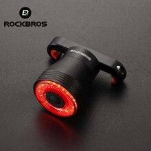 ROCKBROS الدراجة ضوء الذكية الاستشعار مصباح ليد بوحدة USB قابل لإعادة الشحن MTB إضاءة دراجة هوائية الضوء الخلفي 6 وضع الألومنيوم سبيكة حامل الدراجة اكسسوارات
