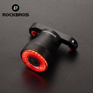 Image 1 - ROCKBROS الدراجة ضوء الذكية الاستشعار مصباح ليد بوحدة USB قابل لإعادة الشحن MTB إضاءة دراجة هوائية الضوء الخلفي 6 وضع الألومنيوم سبيكة حامل الدراجة اكسسوارات