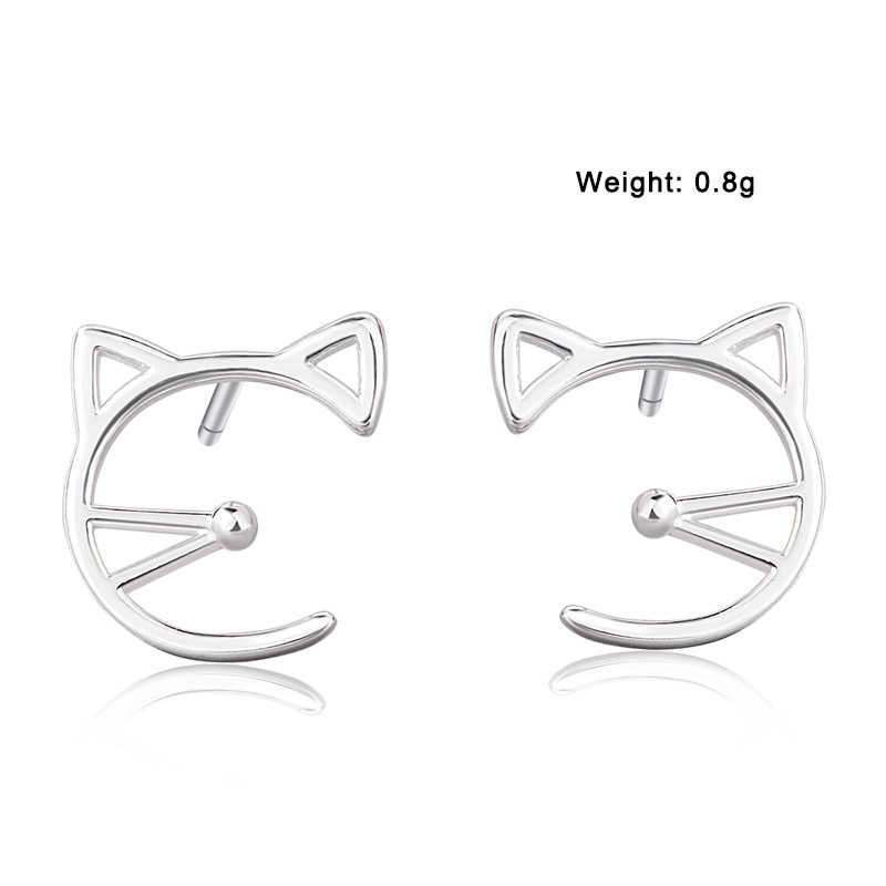 XIYANIKE 925 Sterling Silver New Simples Oco Cat Evitar Alergia Brincos Do Parafuso Prisioneiro para As Mulheres de Casamento Pequenos Aros de Ouvido Jóias