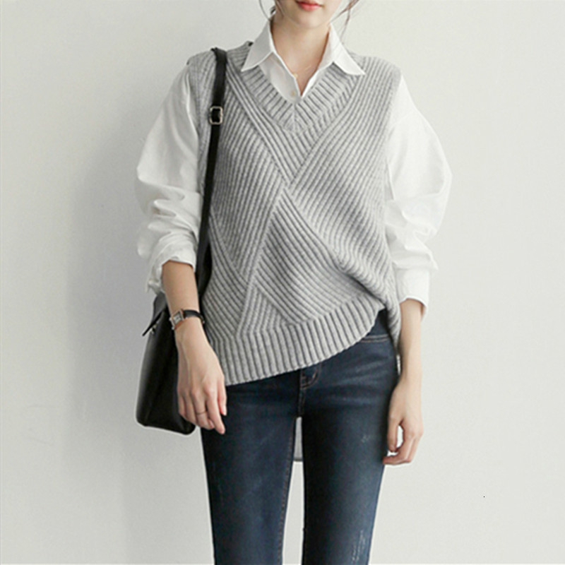 Sweater Vest Women's 2019 New Autumn And Winter Korean Version Of The Set Of Wild Loose V-neck Knitted Vest Pullovers Coat