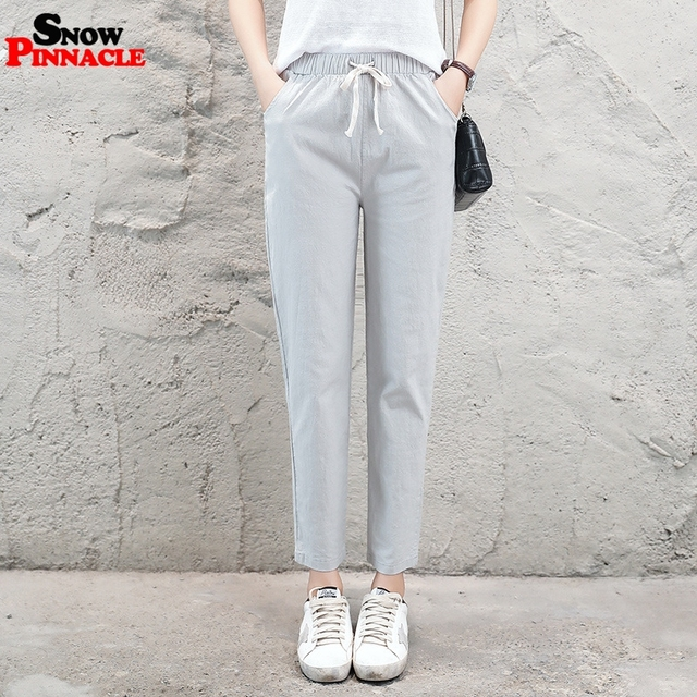 2019 New Women High Waist Elastic Harem Pants Casual OL Cotton Linen Lady Ankle -length Capris Trouser Pencil Pants Summer 3