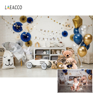 Laeacco Birthday Photocall Balloons Bears Stars Toy Children Portrait Photography Backgrounds Baby Shower Backdrops Photo Studio