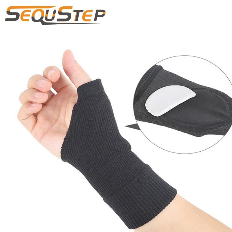 Unisex Black Palm Wrist Protector Hand Support Gloves Sprain Arthritis Bracer Belt Basketball Sports Arm Sleeve Bandage Gloves