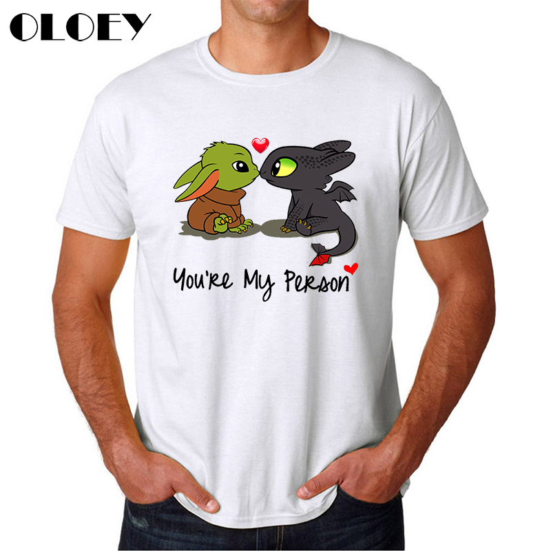 Cute Baby Yoda Toothless Kiss T Shirt Men Funny You Are My Person T-shirt The Mandalorian Male Clothes Aesthetic Streetwear