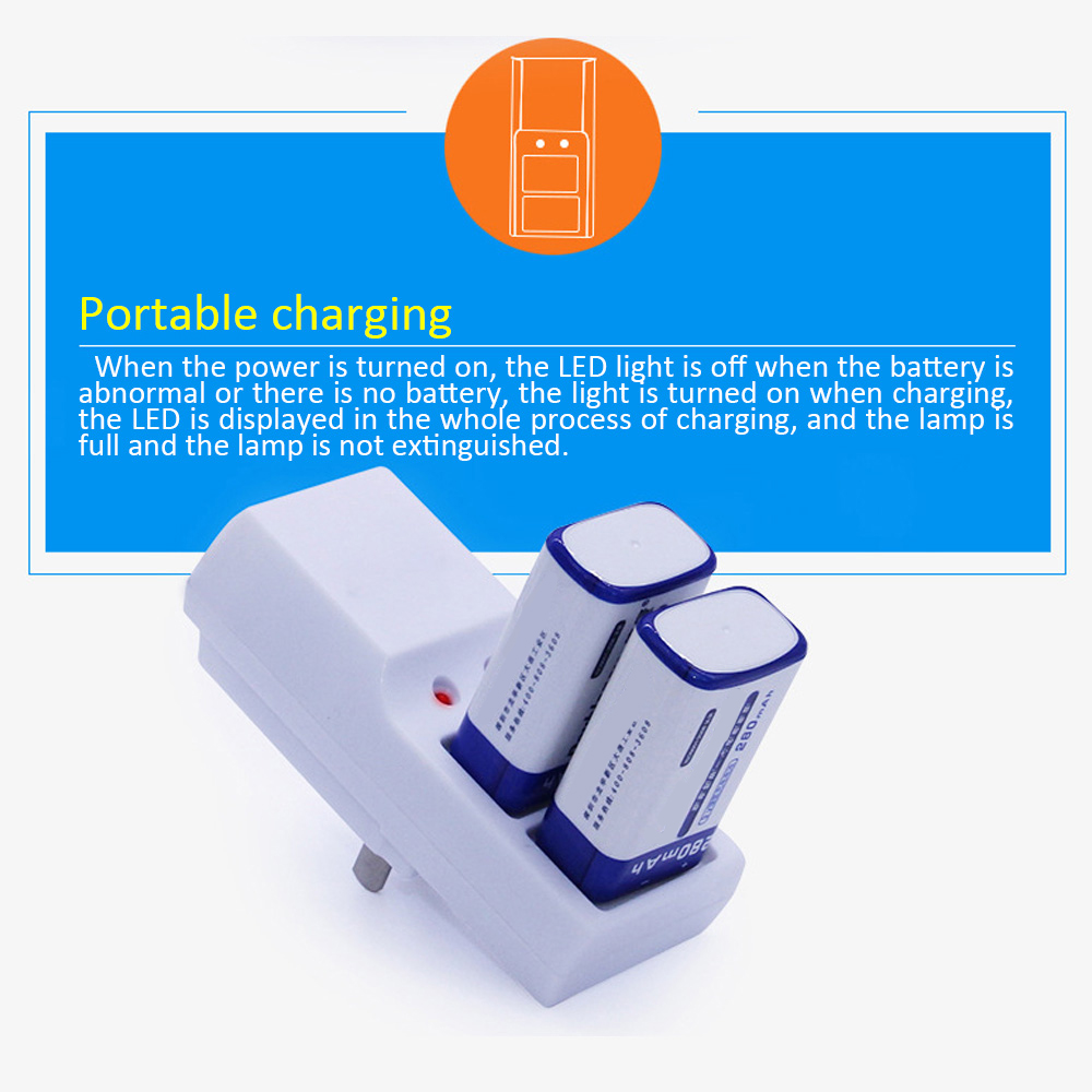 Newest Two Slots <font><b>9V</b></font> <font><b>Battery</b></font> <font><b>Charger</b></font> Full Automatic Stop Charging <font><b>Charger</b></font> for Rechargeable <font><b>Batteries</b></font> image