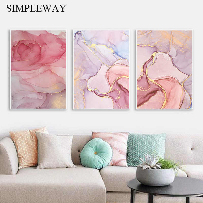 Pink Golden Marble Wall Poster Abstract Flower Canvas Art Print Painting Nordic Decorative Picture Modern Style Home Decoration