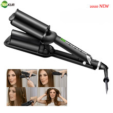 U-shaped Water Ripple Curling Iron Wand with LCD Temperature Display Ceramic Tourmaline Dual Voltage Crimping Tool Best Hair