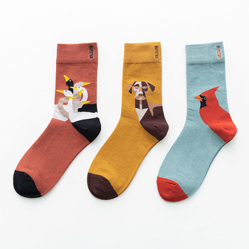 Uni Painting Style Women's Sock Cotton Colorful Kawaii Crew Socks Women 1 Pair  Streetwear Size 36-44