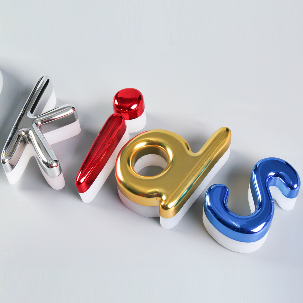 Colorful Acrylic Chrome Vacuum Coating Halo-lit Letter For Exterior Business Sign
