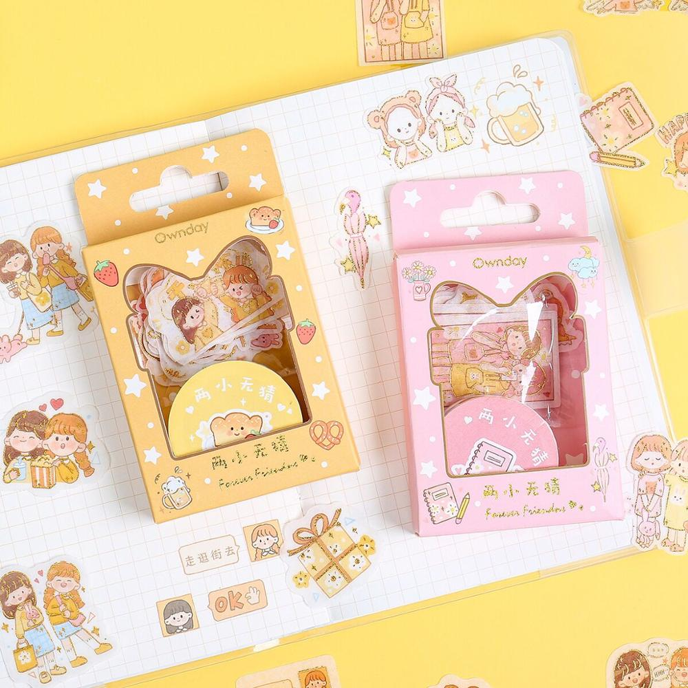 MINKYS New Arrival 1 Box Cute Washi Masking Tape And Sticker Set For Crafts, Diary Decorative Adhesive Tape School Stationery