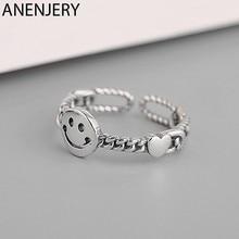 ANENJERY 925 Sterling Silver Hollow sorridente anello cuore catena di blocco argento tailandese anelli regolabili per le donne S-R505