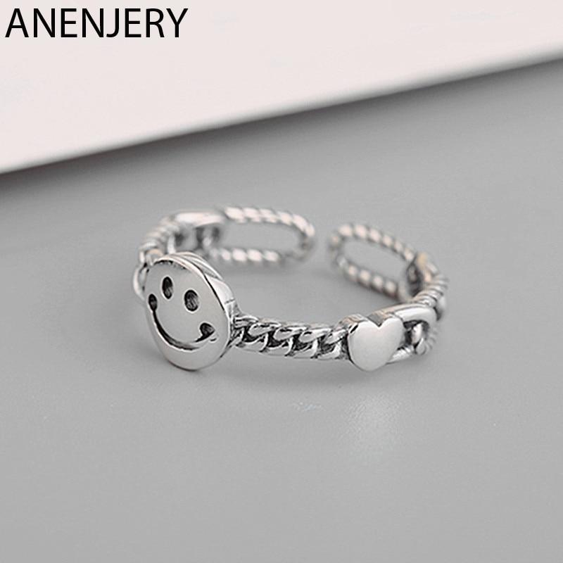 Anillo anenjary con cara sonriente y hueco candado de corazón, cadena de plata esterlina 925 tailandesa, anillos ajustables para mujer S-R505