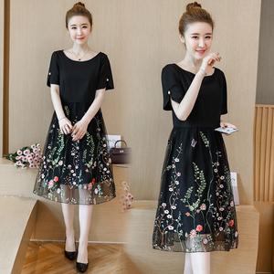 Image 2 - L 5XL Large Size Women Summer New elegant Knee Length Mesh Embroidered Fairy Korean Age Reduced Slim Plus Size Cocktail Dresses