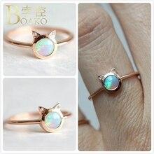 Delicate Opals Rings For Women Fire Opal Gem Stone Korea Girl Birthday Gift Dainty Ring Cat Animal Shape Finger anillos K5