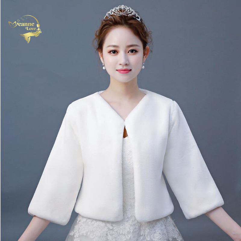 Bolero Para Novia Three-Quarter Sleeves Fur Wedding Coats Women Winter Bridal Wraps Warm Fur Boleros Bridal Jacket Evening Capes