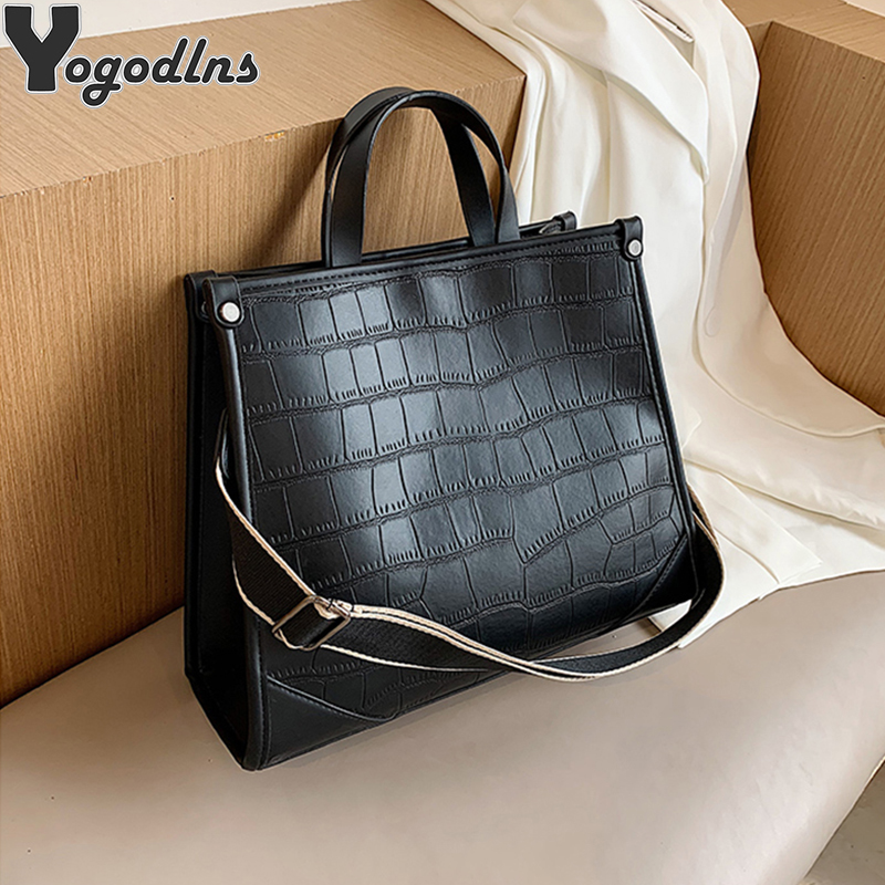 Vintage Stone Pattern Design Handbag For Women Sling PU Leather Shoulder Messenger Bag Ladies Big Ca