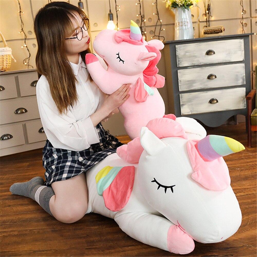 Hot Sale 1pc 80-25cm Kawaii Unicorn Plush Toy Stuffed Soft Cute Animal Dolls Graduation Toys For Kids Children Birthday Gift