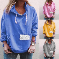 Leisure Long Sleeve Hooded Womens Sweatshirt Tops Pullover Hoodies Women Loose Sweatshirt Soft Korean Style Ladies Coat Oversize