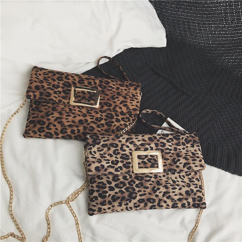 Messenger Handbag Envelope-Bag Leopard Clutch-Bag Zipper-Day Print Female Women Crossbody