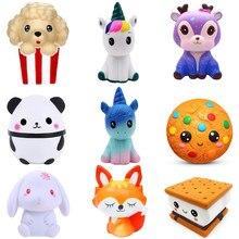 Jouets Kawaii anti-stress pour enfants, figurines en forme de pop-corn, gâteau, beignet, fruit, Squishi, cadeau pour bébés et enfants
