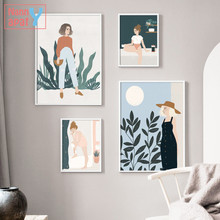 Nordic Modern Home Decorative Painting Fashion Girl Cartoon Illustration Poster Modular Pictures for Bedroom and Living Room