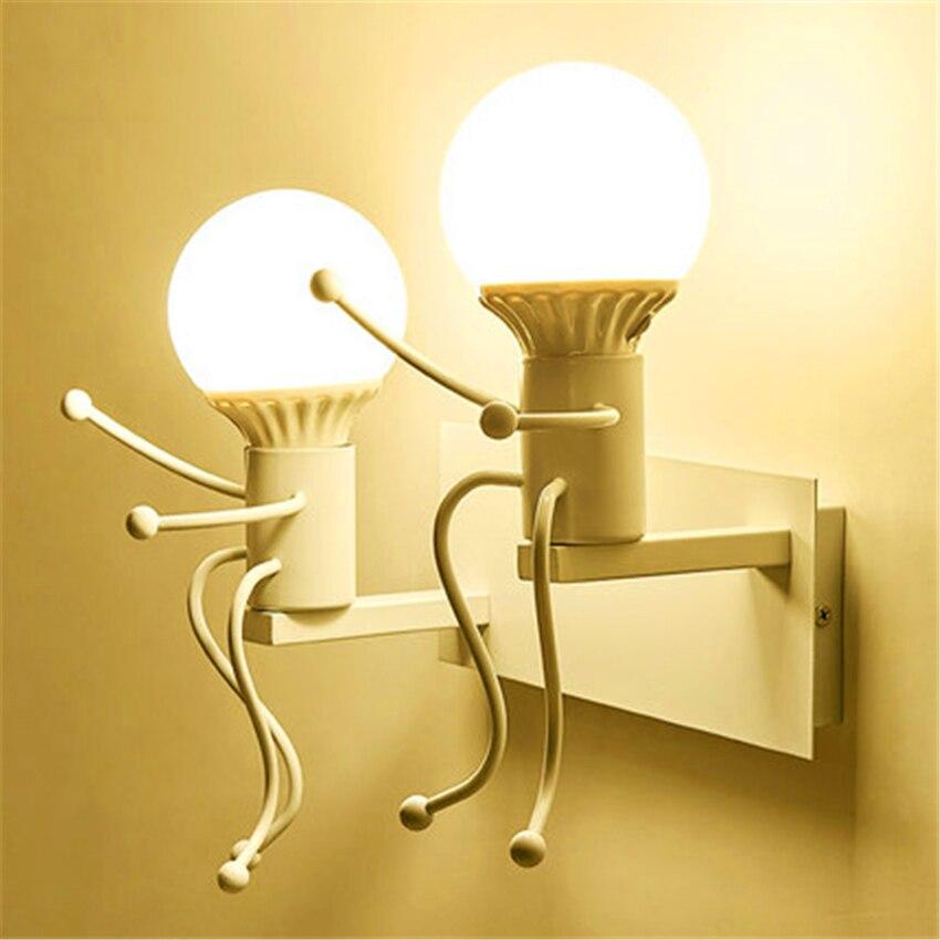 Modern Iron LED Wall Light Color Fixtures Bedroom Corridor Bar Restaurant Hotel Cartoon Robot Lamp Sconce