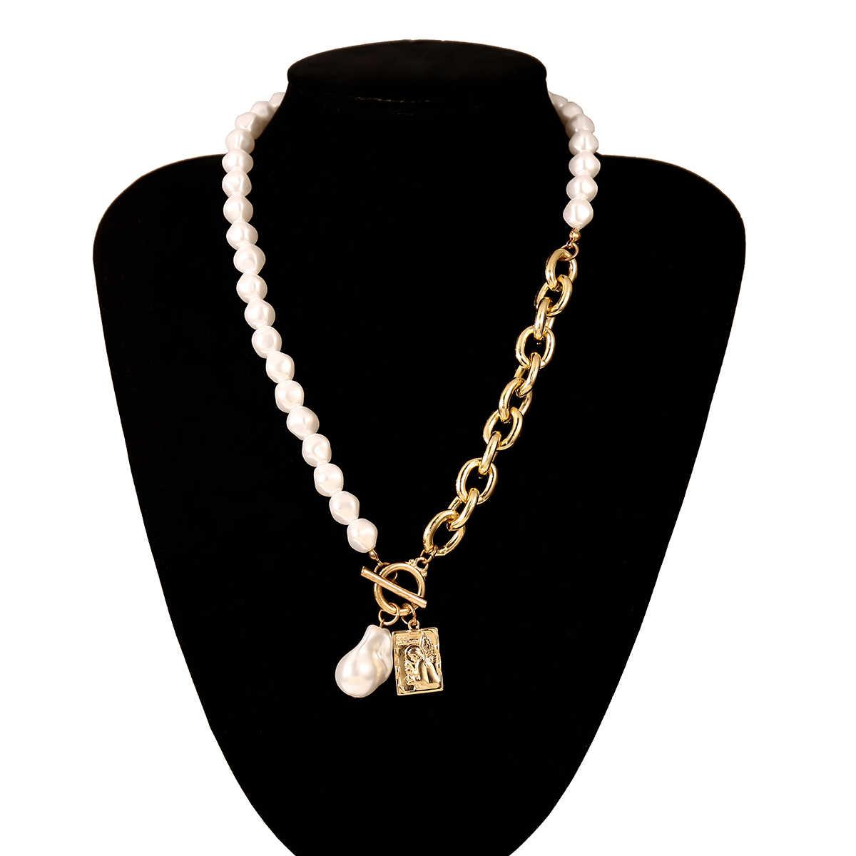 القوطية الباروك اللؤلؤ الملاك قلادة المختنق قلادة للنساء الزفاف فاسق لاسو كبير مكتنزة سميكة قفل سلسلة قلادة مجوهرات