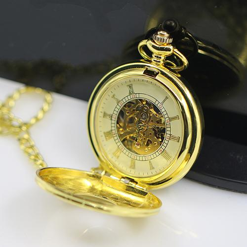 Unisex Pocket Watch Chain Vintage Hollow Carved Pocket Watch Necklace Roman Numerals Case Mechanical Watch Pocket Watch Gift