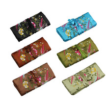 Chinese Style Silk Jewelry Roll Bag Zipper Jewelry Hand Pouch Embroidery Necklace Travel Pouch Lover's Birthday Gift Bag 10Pcs(China)