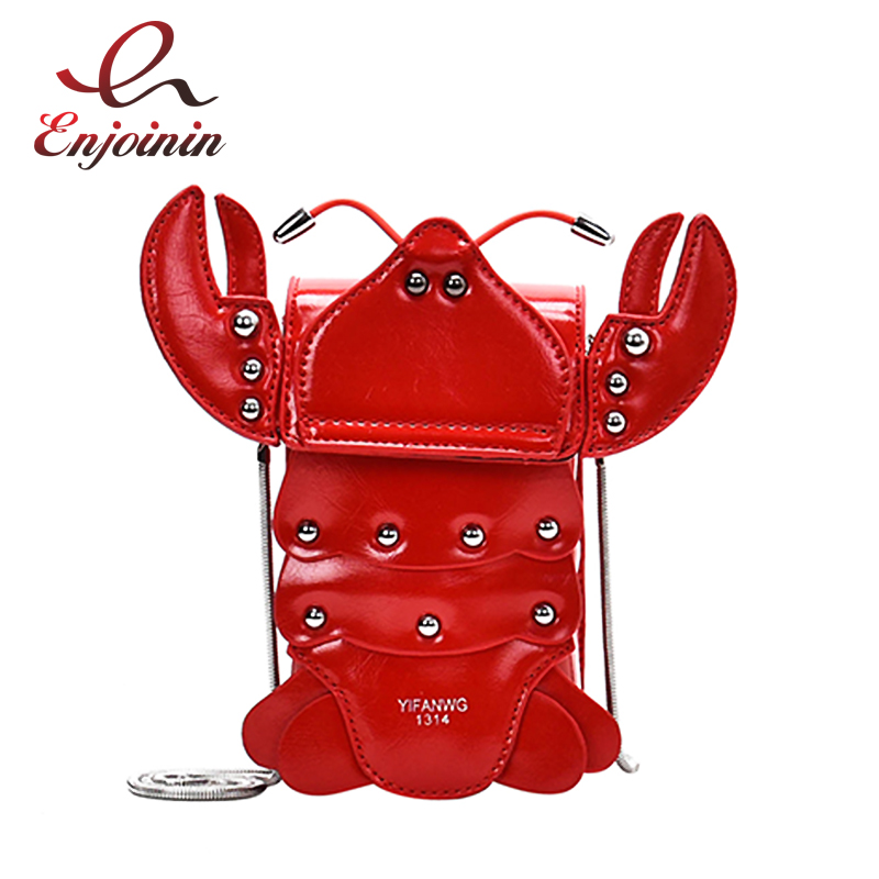 Novel Fashion Red Lobster Women Shoulder Bag Handbag Crossbody Mini Bag Clutch Bag Young Girl's Chain Purse Tote Bag Pu Bolsa