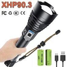 Super brillante XHP90.3 Usb Potente linterna Led 18650 Xhp90 Luz de flash táctica recargable Antorcha Cree XHP50.2 Lámpara de trabajo con zoom